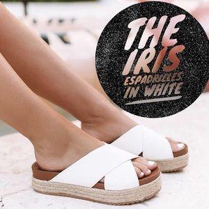 'The Iris' Espadrilles In White